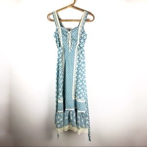 Vintage | 70's Homespun calico prairie dress | XS
